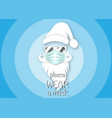 santa claus head label wears surgical mask concept vector image
