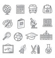 school and education icons on white background vector image vector image