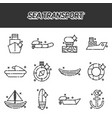 sea transport cartoon concept icons vector image vector image