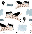 seamless childish pattern with cute cats hero mask vector image vector image