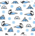 Seamless pattern with cute doodle seal vector image vector image
