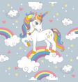 seamless pattern with cute unicorn standing vector image