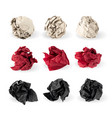 set crumpled paper ball isolated on white