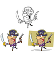Set of cartoon pirates vector image vector image