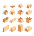 set of isometric boxes isolated vector image
