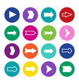 set of sixteen arrows in a colorful circles vector image vector image