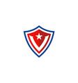 shield letter v star logo vector image