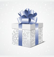 Silver gift box with a blue bow vector image vector image