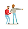 two annoyed men characters arguing and yelling on vector image vector image
