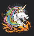 unicorn fullcolor fire vector image