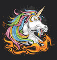 unicorn fullcolor fire vector image vector image