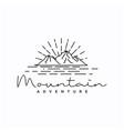 vintage hipster line art mountain adventure logo vector image vector image