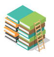 wood ladder on stack books icon isometric style vector image vector image