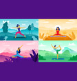 yoga exercise on nature relax outdoors exercises vector image vector image