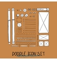 Hand drawn icons set website development vector image