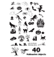 40 Halloween objects vector image
