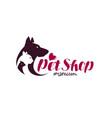 pet shop logo animals cat dog parrot icon vector image