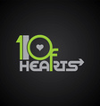10 of hearts logo poker logotype vector image vector image