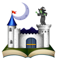A book with a castle and a witch vector image vector image