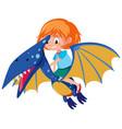 a girl riding pteranodon vector image