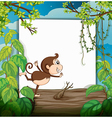 A smiling monkey and a white board vector image vector image