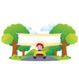 banner template with boy driving yellow car in vector image vector image