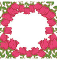 beautiful roses flowers decorative frame vector image