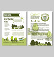 brochure for nature eco gardening vector image vector image