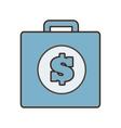 cartoon blue suitcase money business vector image