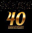 celebrating 40 anniversary emblem template design vector image vector image