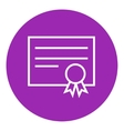 Certificate line icon vector image vector image