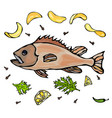 cooked fish with potatoo chips herbs spices lemon vector image vector image