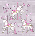 cute carousel horses and stars set hand drawn vector image