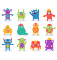 cute monsters halloween cartoon monsters vector image