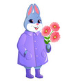 cute rabbit with a bouquet of gerberas vector image