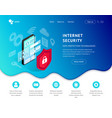 data protection landing page smartphone blue icon vector image vector image
