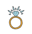 digitally drawn diamond ring design hand drawing vector image