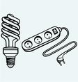 Energy saving light bulb and power surge vector image vector image
