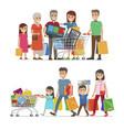 families shopping concept vector image vector image