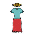 female typical farmer costume icon vector image vector image