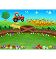 Funny landscape with tractor and cornfield vector image vector image