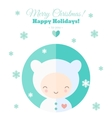 Greeting card with fun child for Christmas in flat vector image vector image