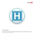 helipad simple flat icon - white circle button vector image