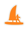 icon sticker realistic design on paper windsurfing vector image vector image