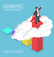 isometric super businessman standing on top vector image vector image