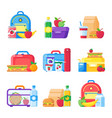 kids school lunch box schoolkid meal bag for vector image vector image