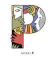 letter p with mask vector image vector image