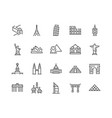 line landmarks icons vector image