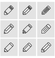 line pencil icon set vector image vector image