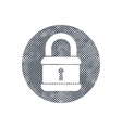 Lock icon with pixel print halftone dots texture vector image